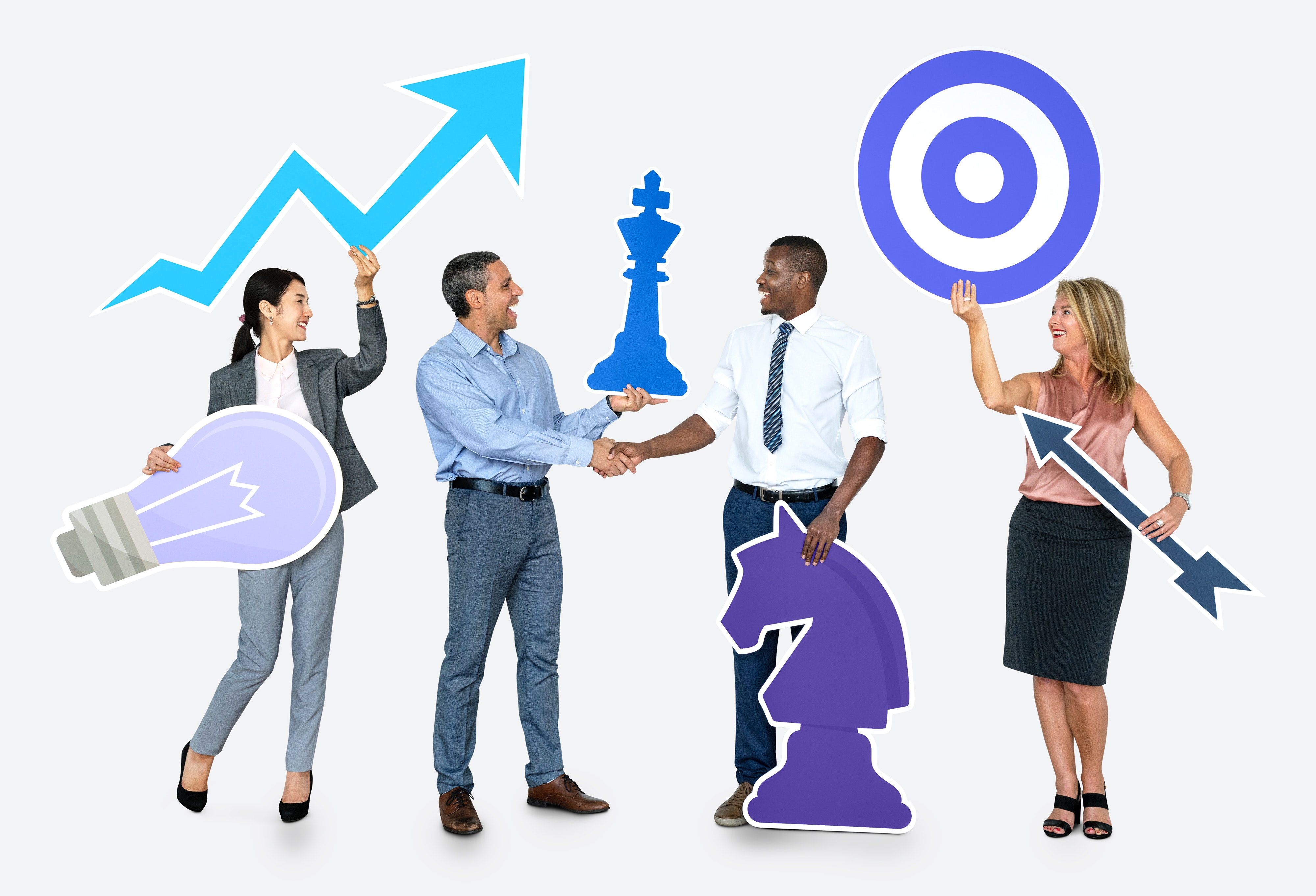 business people holding icons